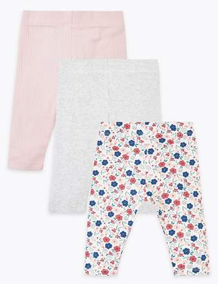 Marks and Spencer 3 Pack Cotton Rich Floral Leggings
