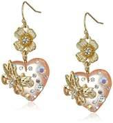 Betsey Johnson Flower and Heart Double Drop Earrings