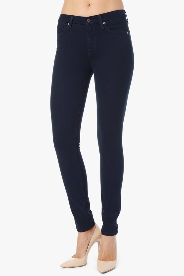 7 For All Mankind Mid Rise Skinny In Navy