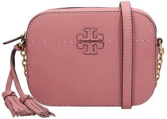 Tory Burch Mcgraw Shoulder Bag In Rose-pink Leather