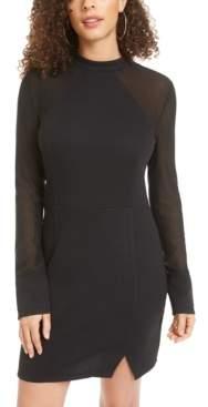 Material Girl Juniors' Mesh-Sleeve Bodycon Dress, Created for Macy's