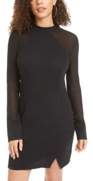 Material Girl Juniors' Mesh-Sleeve Bodycon Dress, Created for Macy's