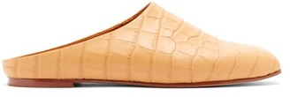 Emme Parsons Glider Crocodile-embossed Slide Slippers - Womens - Tan