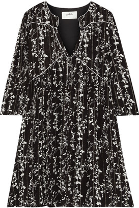 BA&SH Frezza Gathered Printed Metallic Gauze Mini Dress
