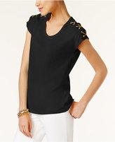 MICHAEL Michael Kors Lace-Up-Shoulder T-Shirt