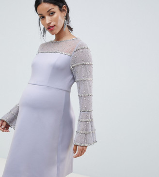 ASOS DESIGN Maternity scuba mini dress with embellished sleeves and back detail
