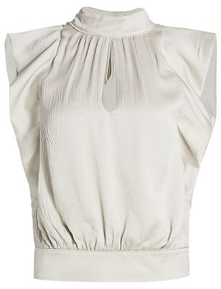 Frame Sleeveless Pleated Silk Mockneck Blouse