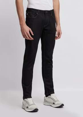 Emporio Armani Slim-Fit J06 Stretch Cotton Denim Jeans With Selvedge Logo