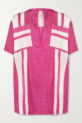 Lemlem Zoya Striped Cotton-voile Tunic - Fuchsia