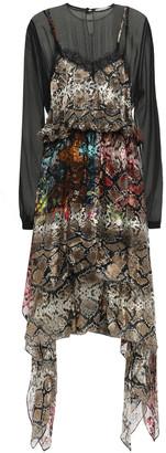 Preen by Thornton Bregazzi Fredi Asymmetric Layered Devore Silk-blend Dress