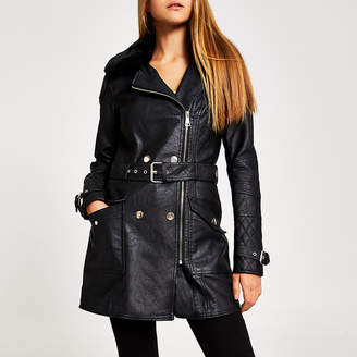 River Island Black faux leather longline belted jacket