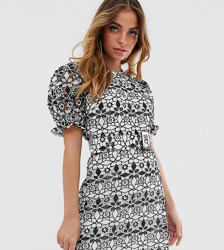 Asos DESIGN Petite premium contrast lace mini dress with puff sleeves and belt-Multi