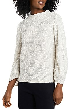 Vince Camuto Ruched Sleeve Boucle Knit Sweater