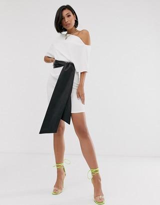Asos Design DESIGN textured off shoulder mini dress with pu belt-Black