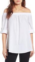 Bobeau Off-the-Shoulder Poplin Shirt (Petite)