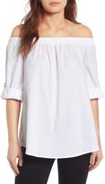 Bobeau Off the Shoulder Poplin Shirt (Regular & Petite)