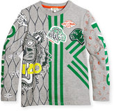 Kenzo Long-Sleeve Printed Cotton Jersey Tee, Gray, Size 4-6
