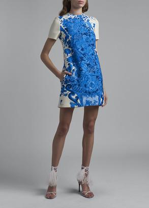 Valentino Floral Printed Crepe Shift Dress