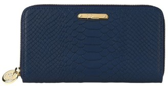 GiGi New York Large Python-Embossed Leather Zip-Around Wallet