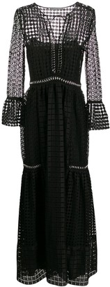 Alberta Ferretti Sheer Patterned Evening Dress