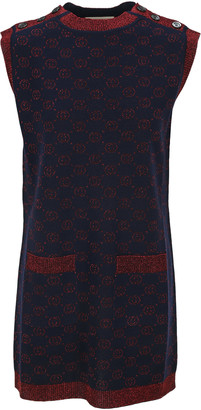 Gucci Interlocking G Lame Wool Dress