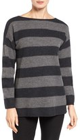 Eileen Fisher Women's Stripe Felted Merino Bateau Neck Sweater