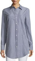 Michael Kors Button-Front French-Cuff Tunic, Indigo/White