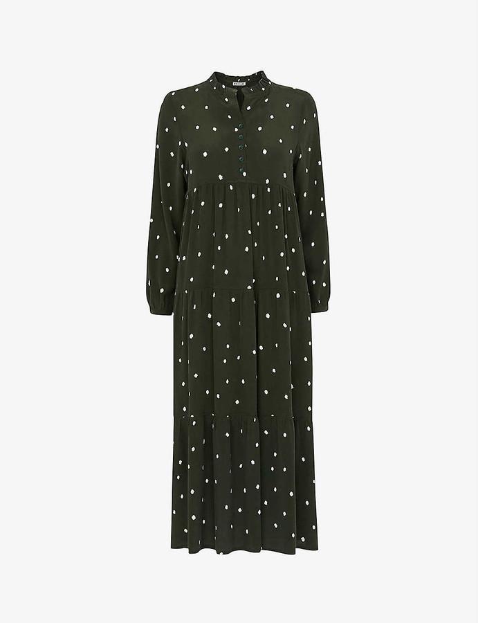 Whistles Enora polka-dot crepe maxi dress