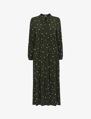 Whistles Enora polka-dot crepe maxi dress