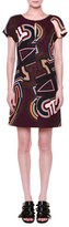 Emilio Pucci Short-Sleeve Round-Neck Shift Dress, Plum/Multi