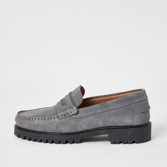 River Island Mens Grey suede chunky sole loafers