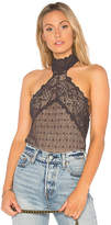 Nightcap Clothing Mesh Lace Halter Top in Brown. - size 1 (XS) (also in 2 (S),3 (M),4 (L))