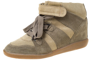 Isabel Marant Olive Green Suede Bobby Lace Up Wedge Sneakers Size 41