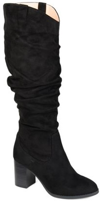 Brinley Co. Womens Wide Calf Slouch Heeled Boot