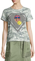 Marc Jacobs Julie Mouth Camouflage-Print Tee, Gray/Multi
