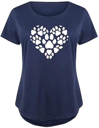Instant Message Plus Women's Tee Shirts NAVY - Navy Pawprint Heart Scoop Neck Tee - Plus