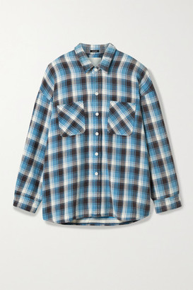 R 13 Oversized Checked Cotton-flannel Shirt - Blue