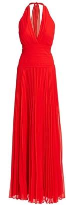 Halston Pleated Georgette Halter Gown