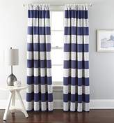 """Chezmoi Collection 1 Panel Cabana Striped Back Tab Thermal Insulated Blackout Window Curtain (52"""" W x 63"""" L, Navy)"""