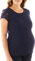 JCP Maternity Short-Sleeve Crochet Babydoll Top - Plus