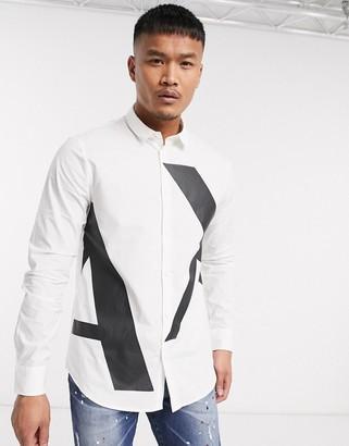 Armani Exchange large logo shirt in white