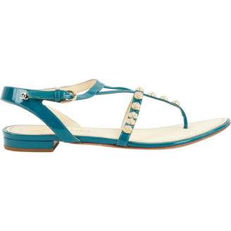 Chanel Turquoise Patent leather Flats