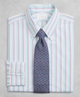 Brooks Brothers Golden Fleece Milano Slim-Fit Dress Shirt, Button-Down Collar Multi-Stripe Poplin