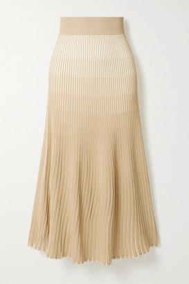 Nicholas Agonda Ribbed-knit Midi Skirt - Beige