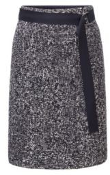 HUGO BOSS A-line belted skirt in two-tone Italian tweed