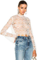 Nicholas Antique Lace Bell Sleeve Crop Top