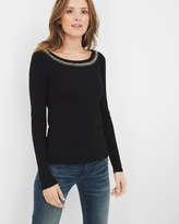 White House Black Market Embellished-Neck Pullover