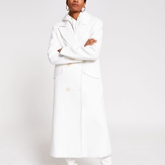 River Island Womens White long line double breasted coat
