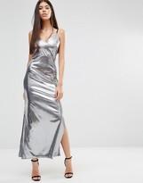 Boohoo Metallic Side Split Maxi Dress