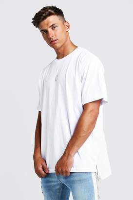 BoohoomanBoohooMAN Mens White Basic Oversized Step Hem T-Shirt, White